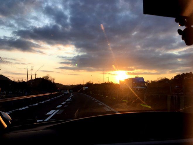 名神高速大垣インター付近の朝日