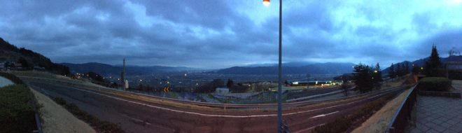 早朝の姨捨パーキングからの景色。